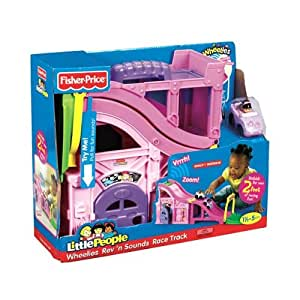Fisher Price Little People PINK Exclusive!! Wheelies Rev and Sounds Playset