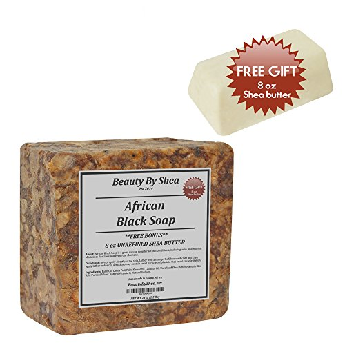 African Butter Black Shea Soap (Beauty By Shea Raw African Black Soap Organic Face and Body Wash 1lb-Bonus- 8 oz Shea Butter)