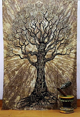 Jaipuri Handloom Crafts JHC's Brown Tree Tapestry Wall Hanging Mandala Tapestries Indian Cotton Bedspread Picnic Bedsheet Blanket Wall Art Hippie Tapestry ()