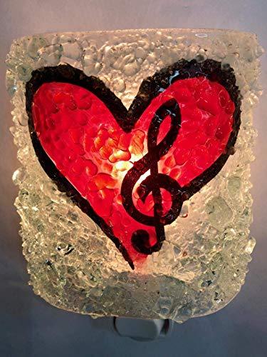 Music Heart Fused Recycled Bottle Glass Art Handcrafted Night Light Nightlight, nitelite Decor Gift