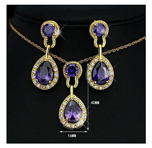 [Yuriao Jewelry Luxury Diamond Accented Water Drop Crystal Necklace And Earrings(purple)] (Period Costumes 1830)
