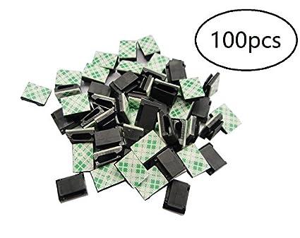 100 clips de cable adhesivos, clips de alambre para coche, sujetacables, sujetacables,