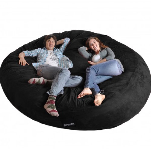 SLACKER sack 8 Round Black Biggest Foam Bean Bag Microfiber Cover like LoveSac XXL