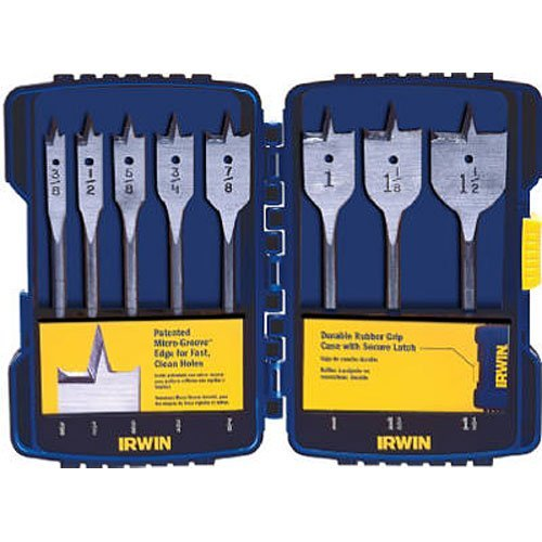 IRWIN Tools SPEEDBOR Blue Groove Pro Spade Bit Set with Case, 8-Piece (341008) ()