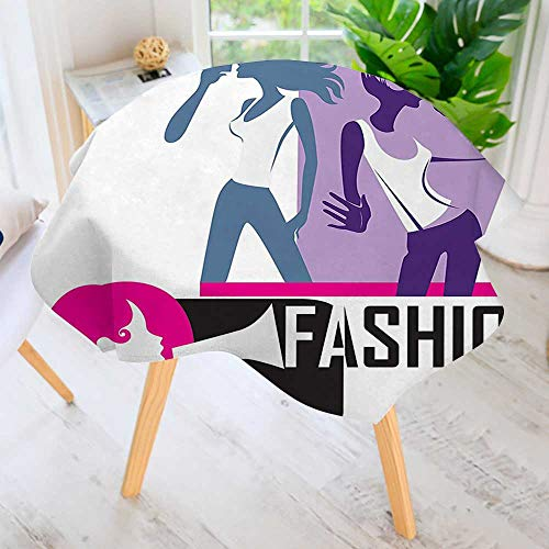 UHOO2018 Easy-Care Cloth Tablecloth Round-Decor Composition of Girls Yelling into Megaphone Modern Stylish Fashion Themed Art Print Great for Buffet Table, Parties, Holiday Dinner & More 47.5