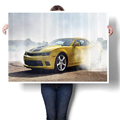 SCOCICI1588 Canvas Prints Wall Art Racer Sports Car in The Course of Competiti Drifting with Moving Wheels Asphalt Colorful Paintings for Living Room,32