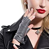MATSU Women Sexy 4 Colors Fingerless Driving Unlined Leather Gloves M504 (M, Gray)