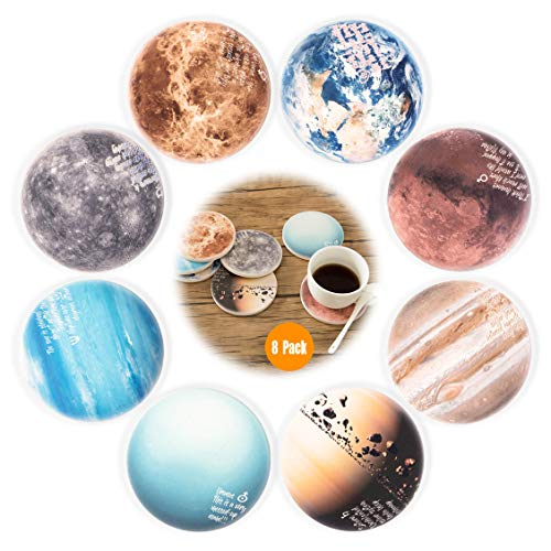 (Wallohere Coasters Set of 8, Absorbent Stone Ceramic Coaster Set for Drink with Cork Base, Keep Spill Off Table, Unique Original Solar System Planet Theme Coaster Set with Vibrant Color)