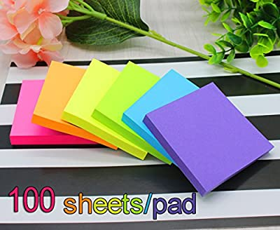 Vanpad Sticky Notes 3x3 Inches,Bright Colors Self-Stick Pads,100 Sheets/Pad,12 Pads,1200 Sheets