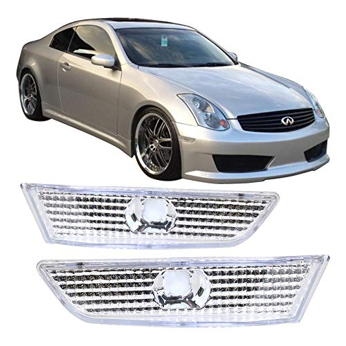 Side Marker Clear 2dr - Side Marker Lights Fits 2003-2007 Infiniti G35 | 2DR Coupe Clear Lens Side Marker Bumper Lights Lamp Pair by IKON MOTORSPORTS