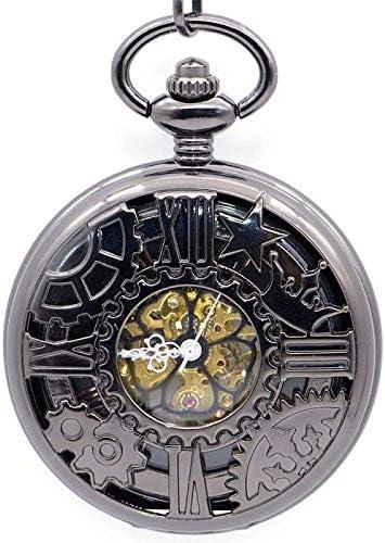 YXZQ懐中時計、スチームパンクホイールギアメカニカルハンド風スケルトンバックブラックスチールチェーン付き