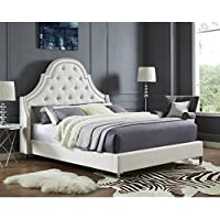 Inspired Home Leonardo Linen Button Tufted with Nailhead Trim Platform Bed Queen Size , Beige