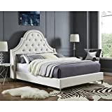 InspiredHome Beige Linen Platform Bedframe – Design: Leonardo | Queen Size | Tufted | Modern | Nailhead Trim Finish Review