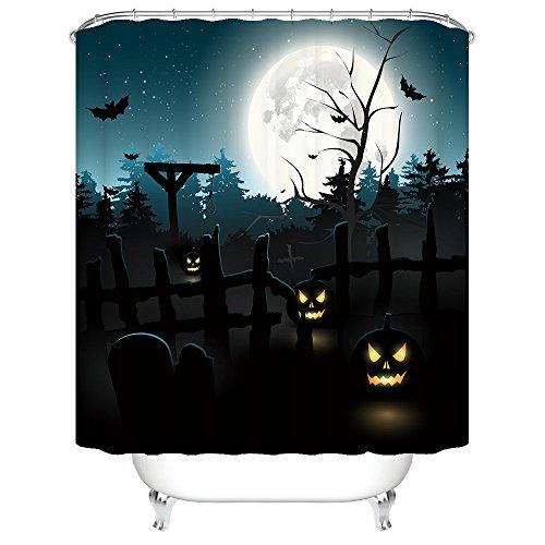 Gwein Halloween Night Theme Happy Halloween PumpkinDecorative Bathroom Mildew Resistant Fabric Shower Curtain Waterproof/Water-Repellent & Antibacterial Shower Room Decor Shower Curtains 60