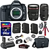 Canon 5D Mark III 22.3 MP Full Frame CMOS with 1080p Full-HD Video Mode Digital SLR Camera with Canon EF 24-105mm f/4 L IS USM Lens + Canon EF 70-300mm f/4-5.6 IS USM Lens + Transcend 64GB Memory Card
