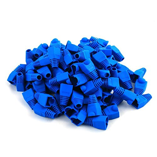 Soft Plastic Ethernet RJ45 Cable Connector Boots Cover Strain Relief Boots CAT5 CAT5E CAT6 CAT6E 100PCS By Copapa (Blue)