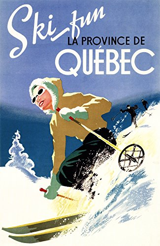 Ski Fun at Quebec (24x36 Collectible Giclee Gallery Print, Wall Decor Travel Poster) (Fun Poster)