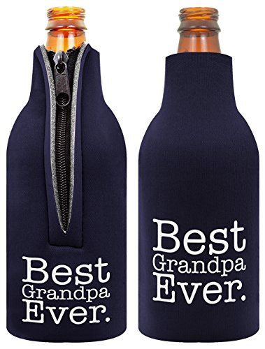 Father's Day Gift Beer Bottle Coolie Best Grandpa Ever 2 Pack Bottle Drink Coolers Coolies Navy