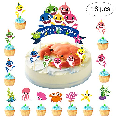 Little Shark Baby Cake Topper Kit Birthday Cupcake Picks Happy Birthday Party Supplies for Baby Shower Shark Theme Party Decorations, Colorful