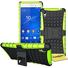 Sony Xperia M4 Aqua Case, FoneExpert® Heavy Duty Rugged Impact Armor Hybrid Kickstand Protective Cover Case For Sony Xperia M4 Aqua + Screen Protector & Cloth (Green)