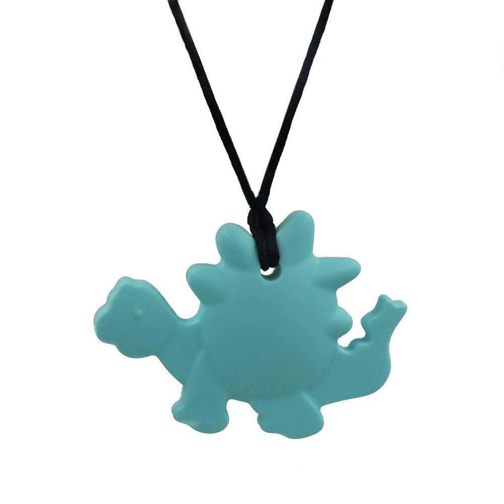 Dinosaur Chew Necklace for Sensory - Oral Motor Aide Chewelry Silicone Teething Necklace for Nursing Mom, Chewable Toy for ADHD Children and Autism or Special Need (Turquoise Dinosaur) by V-TOP