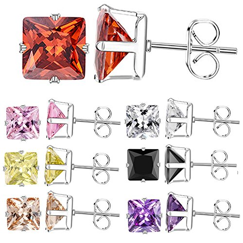 XZP Women Stainless Steel Stud Earrings Square Zirconia Fashion Jewelry Week Earring 7 Pairs In Set 8mm (Square Zirconia)