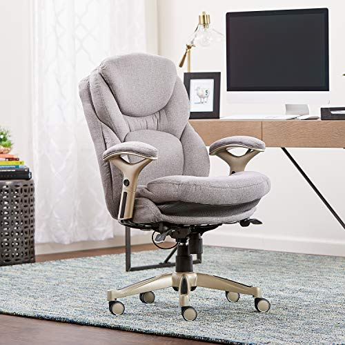 Serta Works Ergonomic Executive Office Chair with Back in Motion Technology, Light Gray Fabric - Brown Fabric Seat
