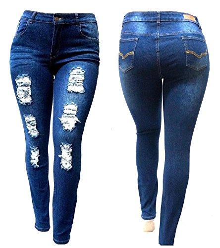SL 1826 WOMENS PLUS SIZE Stretch Distressed Ripped BLUE SKINNY DENIM JEANS PANTS (14)