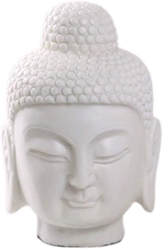 THAI BUDDHA Head Ornament White Figure Sculpture Statue Home Decoration 24cm