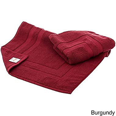 Cheer Collection Set of 2 100% Cotton Super Absorbant Tub Shower Bath Mats (20 inches x 31 inches) - Burgundy