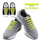 Homar No Tie Shoe Laces - Best in Sports & Fitness Shoelace Accessories - Durable Rubber Elastic Flat Shoelaces with Multicolor to Choose Perfect for Sneaker Boots Oxford and Casual Shoes - Yellow