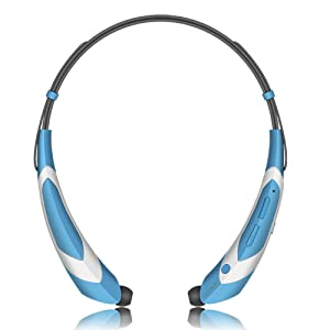 Wireless Bluetooth Headphones Bluetooth 4.1 Music Stereo Headset Earphones with Microphone Vibration Neckband Sports Style Blue