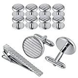 Aeici Round Cufflinks in Stainless Steel Wedding Business Men's Jewelry Gift