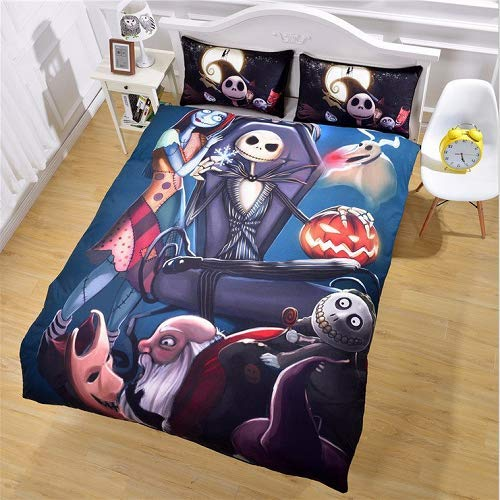 StarFashion 3D Nightmare Before Christmas Duvet Cover Sets, Scarecrow Style Sally and Jack Skellington Bedding Set,Christmas Home Bedroom Decoration,Microfiber Fabric,No Comforter, 3pcs (Twin)