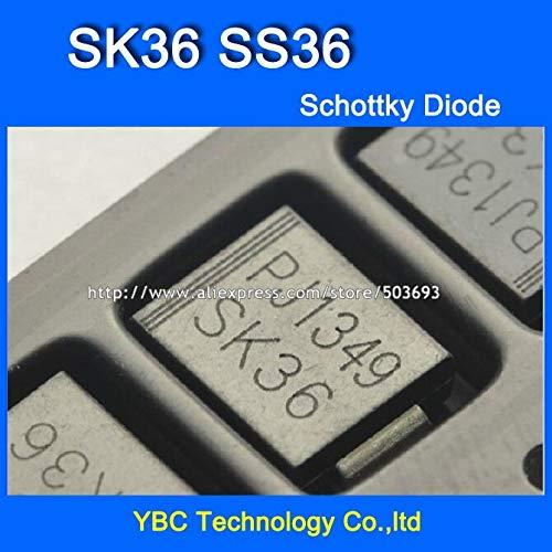 MAO YEYE 100pcs/lot SK36 SS36 SMC 3A/60V Schottky Diode