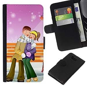 EJOY---La carpeta del tirón la caja de cuero de alta calidad de la PU Caso protector / Samsung ALPHA G850 / --Pares lindos de Navidad de invierno