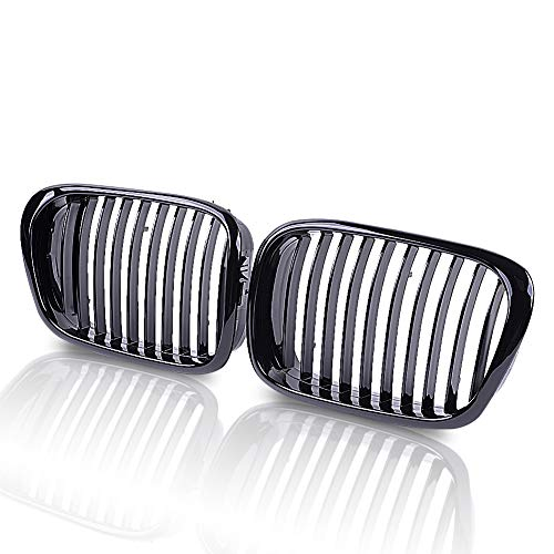 runmade Pair Front Kidney Grill Grille Gloss Black For 2002 2003 2004 BMW E39 5-Series 520i 525i 530i 535i M5 540i ()