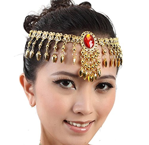 Women Belly Dance Accessories Necklace Hair Band (Gem Gold Coins) (Gypsy Head Scarf)