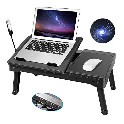 - Laptop Table for Bed-Moclever Multi-Functional Laptop Bed Tray with 2 Independent Laptop Stands-Foldable Adjustable to 2 Different Heights-Internal Cooling Fan for Laptop Desk-LED Desk Lamp-4 Port USB
