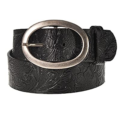 "Sunny Belt Girl's 1 1/2"" Wide Faux Leather Western Style Floral Embossed Belt"