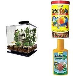 Tetra Cube Aquarium Kit + Flake Fish Food and SafeStart Bacteria Starter Kit