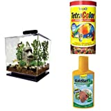 Tetra Cube Aquarium Kit + Flake Fish Food and SafeStart Bacteria Starter Kit