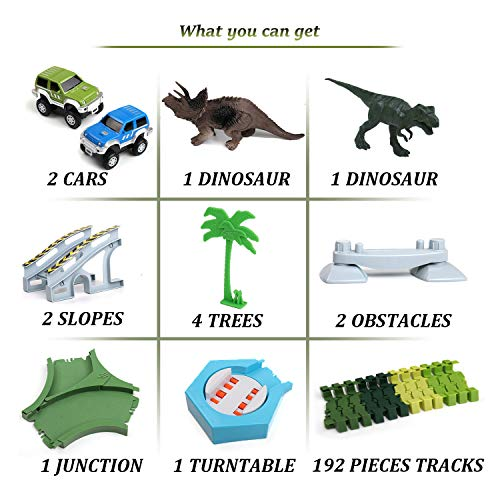 Klobroz Dinosaur Track Race Car Toys, 192 PCS Flexible Train Tracks Playset & 2 Battery Powered Cars, 2 Dinosaurs Best Gifts for Toddler Boys Girls Kids