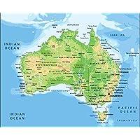 Australian Map City and Boundaries Poster Laminated Waterproof Photo Home Decor