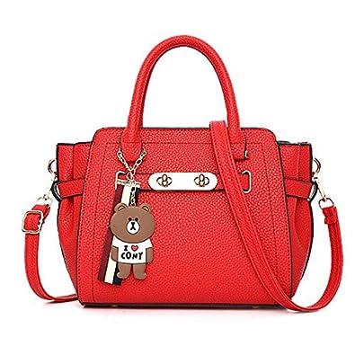 548877c761 Amazon.com  Large Capacity Handbags Women Pu Leather Cute Beer Pendant  Design Casual Tote Bag Ladies Solid Single Shoulder Bags Female Color Red   Shoes