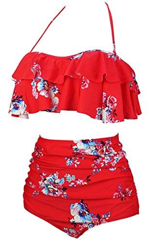 be62840001 COCOSHIP Women's Retro Boho Flounce Falbala High Waist Bikini Set Chic  Swimsuit(FBA)