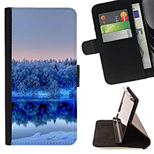 DEVIL CASE - FOR Sony Xperia Z1 Compact D5503 - Nature Winter White Lake - Style PU Leather Case Wallet Flip Stand Flap Closure Cover