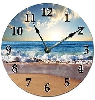 Modern Wooden Clock For Kids Ocean Waves On Shore Clock Ocean Beach Wall  Clock Non