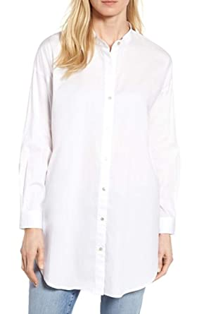 02b09223238 Image Unavailable. Image not available for. Color: Eileen Fisher Womens Petites  Button-Down Mandarin Collar Blouse ...