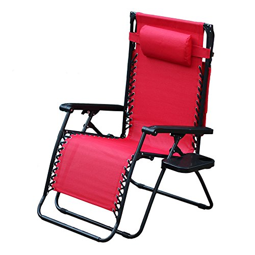 Jeco Oversized Zero Gravity Chair Sunshade Drink Tray in Red (Set of 2 Chairs)